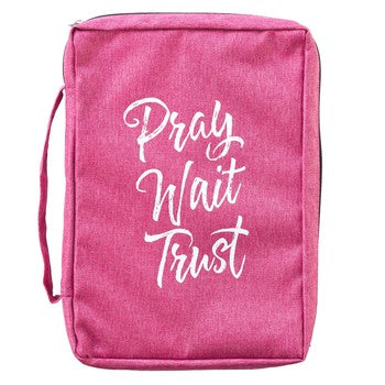 Bible Cover - Pray Wait Trust Pink Canvas Purse
