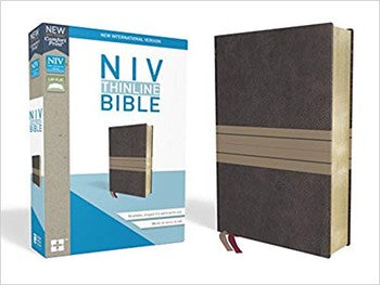 NIV Comfort Print Thinline Bible - Brown/Tan LeatherSoft