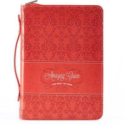 Bible Cover - Amazing Grace Coral