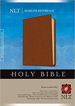 NLT Slimline Reference Bible - Brown Leatherlike