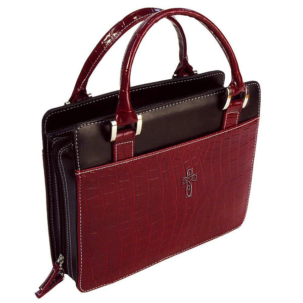 Bible Cover Purse Croc Burgundy