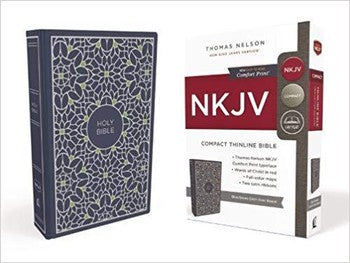 NKJV Comfort Print Compact Thinline Bible - Blue/Green Cloth Board Hardcover