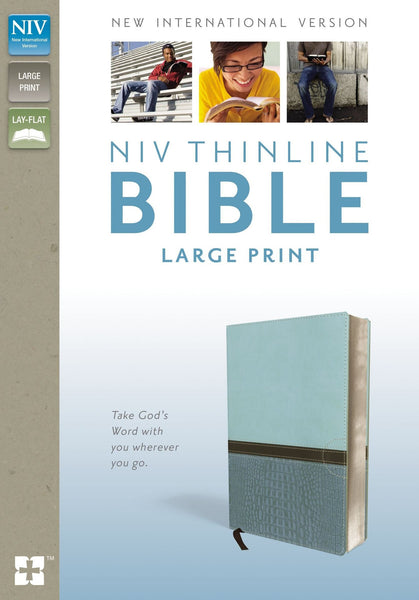 NIV Large Print Thinline Bible - Turquoise Duo-Tone