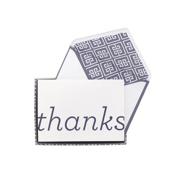 Boxed Thank You Notes - Navy Greek