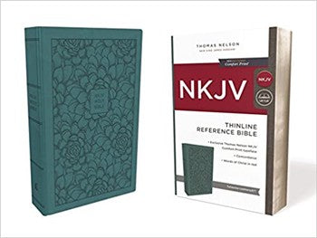 NKJV Comfort Print Thinline Reference Bible - Turquoise Leathersoft