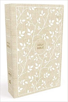 NKJV Comfort Print Thinline Bible - White/Tan Cloth over Board
