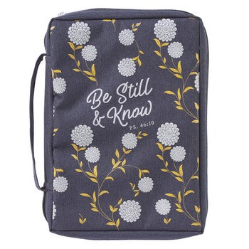 Bible Cover - Be Still & Know Navy Canvas Purse