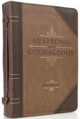 Bible Cover - Be Strong and Courageous Tan/Brown
