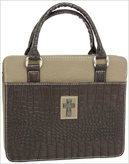 Bible Cover Purse Croc Brown/Tan