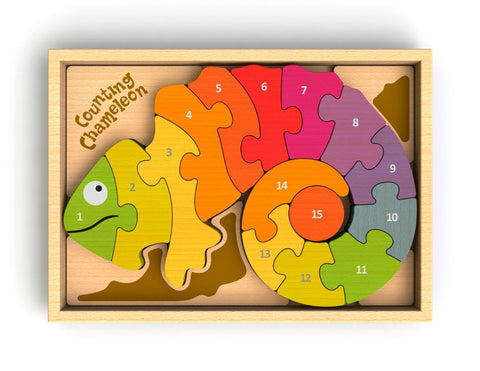 Begin Again Rubberwood Two-Sided Puzzle Counting Chameleon (Bilingual - Spanish)