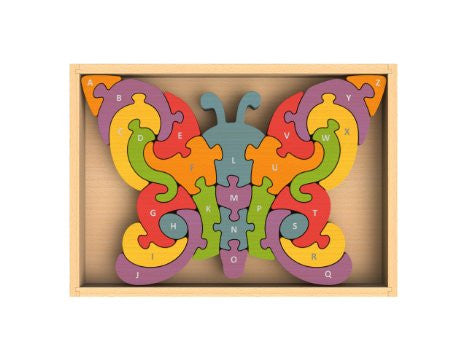 Begin Again Rubberwood A to Z Puzzle Butterfly
