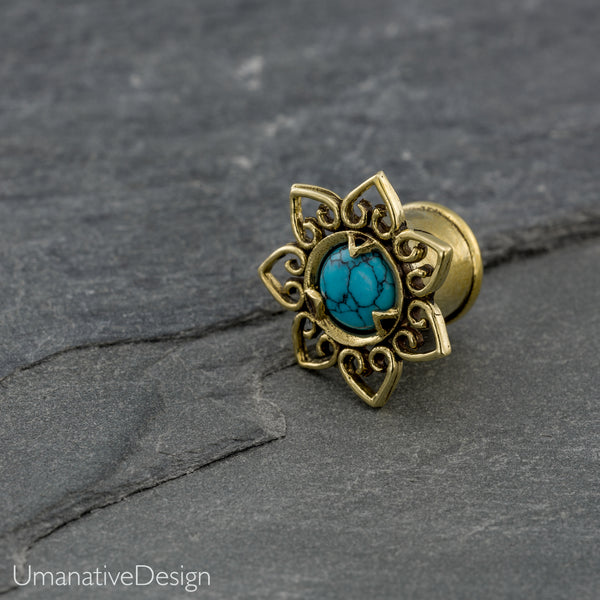 Unique Ear Gauges With Turquoise