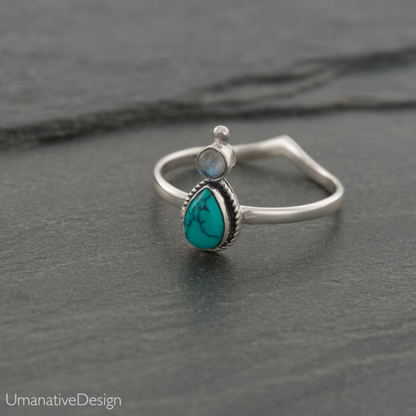 Sterling Silver Turquoise & Rainbow Moonstone Ring