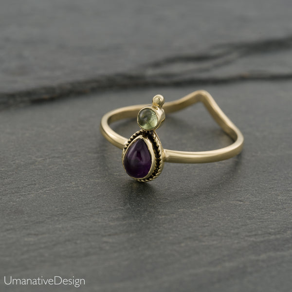 Amethyst & Green Peridot Ring