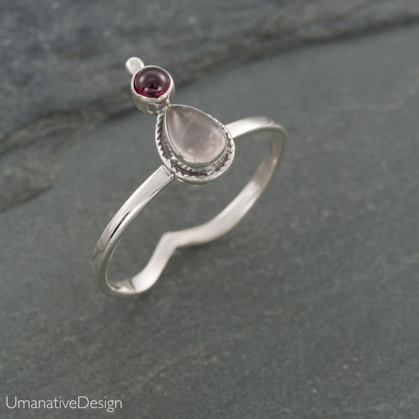 Rainbow Moonstone & Iolite Sterling Silver Ring