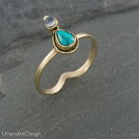Turquoise & Rainbow Moonstone Ring