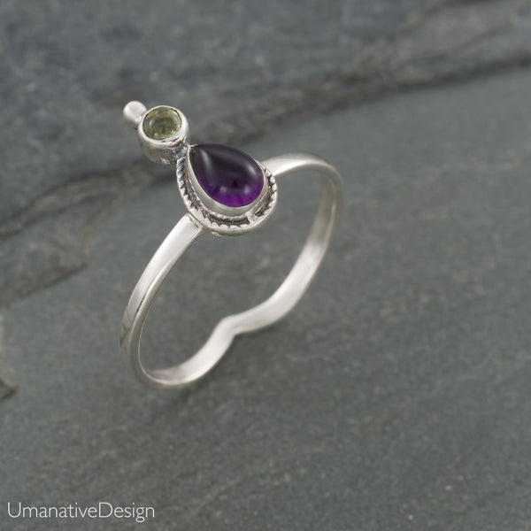 Amethyst & Green Peridot Sterling Silver Ring