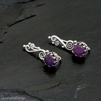 Sterling Silver Amethyst Ear Climbers Earrings