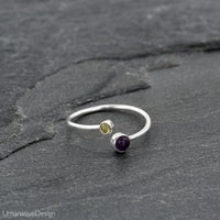 Adjustable Silver Toe Ring With Peridot & Amethyst