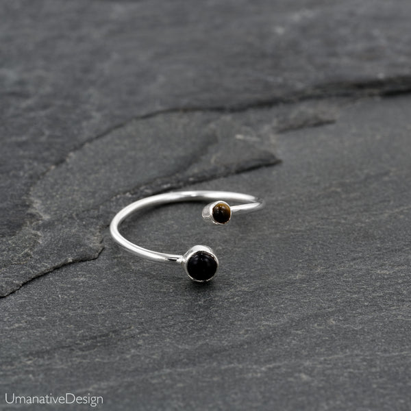 Adjustable Silver Toe Ring With Tiger Eye & Black Onex