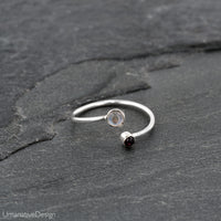 Adjustable Silver Toe Ring With Moonstone & Pink Garnet
