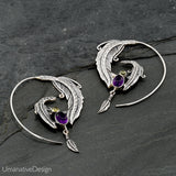 Sterling Silver Spiral Earrings Set With Amethyst & Peridot Gemstone