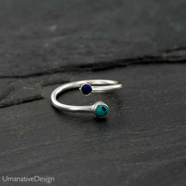 Adjustable Silver Toe Ring With Lapis Lazuli & Turquoise