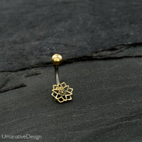 Geometric Flower Belly Button Ring