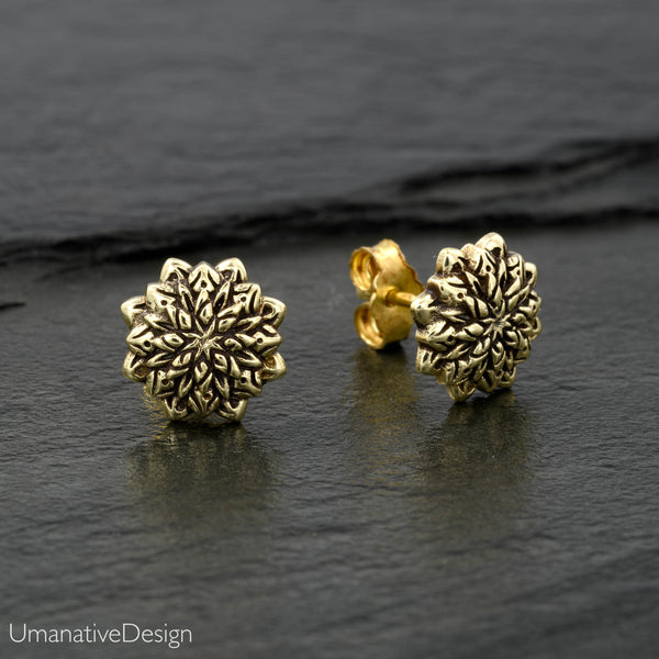 Carved Lotus Flower Stud Earrings