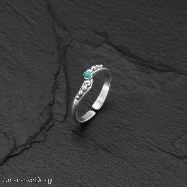 Thin Band Sterling Silver Toe Ring With Turquoise