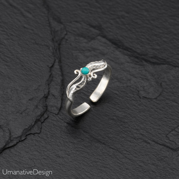 Sterling Silver Feather Toe Ring With Turquoise