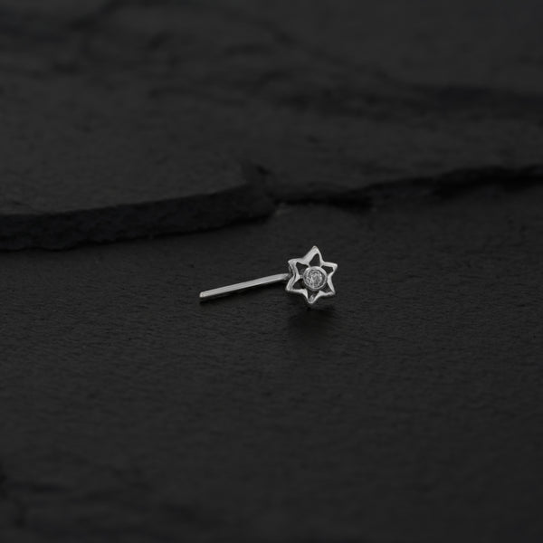 Tiny Gold Star Nose Stud with Zirconia