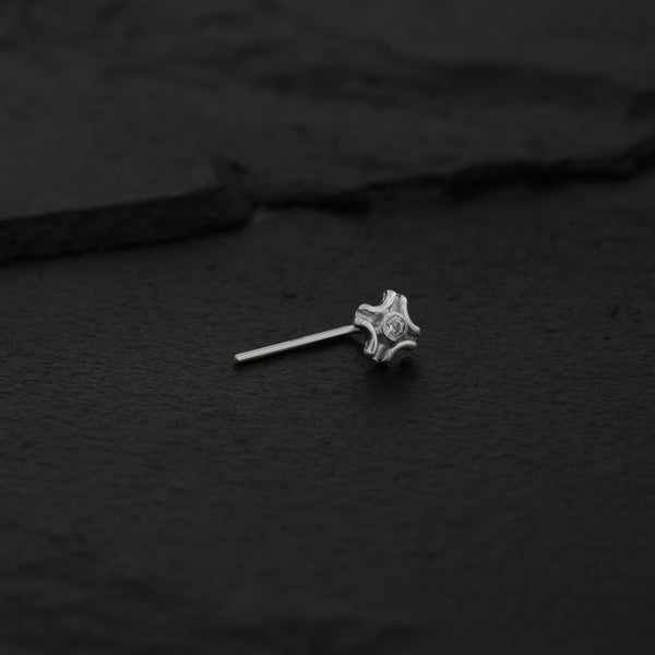 Tiny Flower Sterling Silver Nose Stud with Zirconia