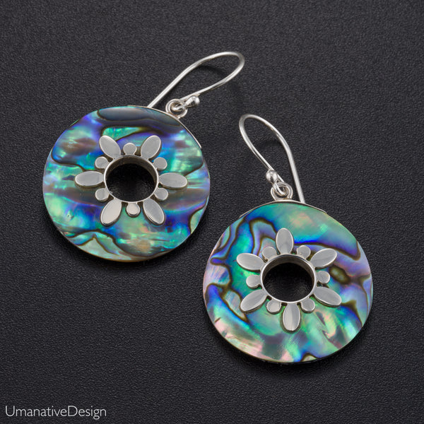 Round Silver & Abalone Shell Earrings