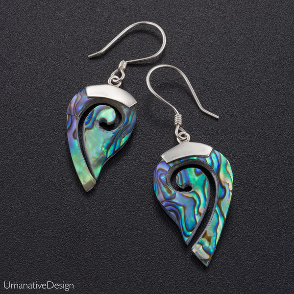 Drop Abalone Shell Earrings With Sterling Silver