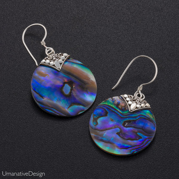 Round Abalone Shell Earrings With Sterling Silver
