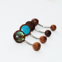 Belly Button rings. 4 Pcs of organic Abalone shell, Cocont Shell, Tamarind wood and Turquoise