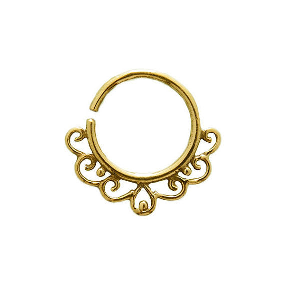 Brass Septum Ring. Indian septum ring. septum jewelry. tribal septum ring. septum piercing. silver septum ring. tragus earring