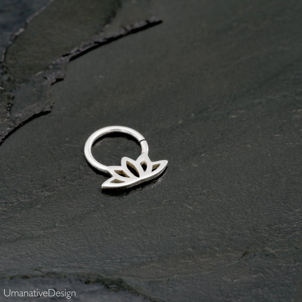 Sterling Silver Rook Piercing - Lotus Design
