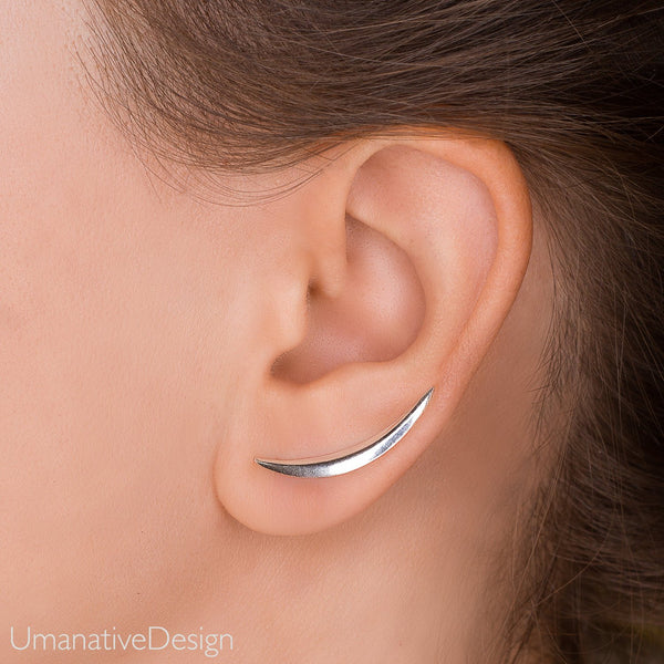 Crescent Moon Silver Ear Climber - Sterling Silver Ear Crawler Earrings