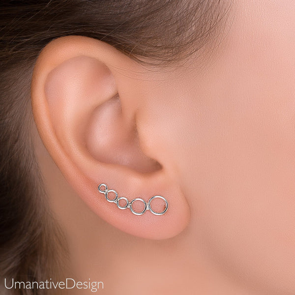 Dainty Ear Climber - Silver Ear Crawler Earrings