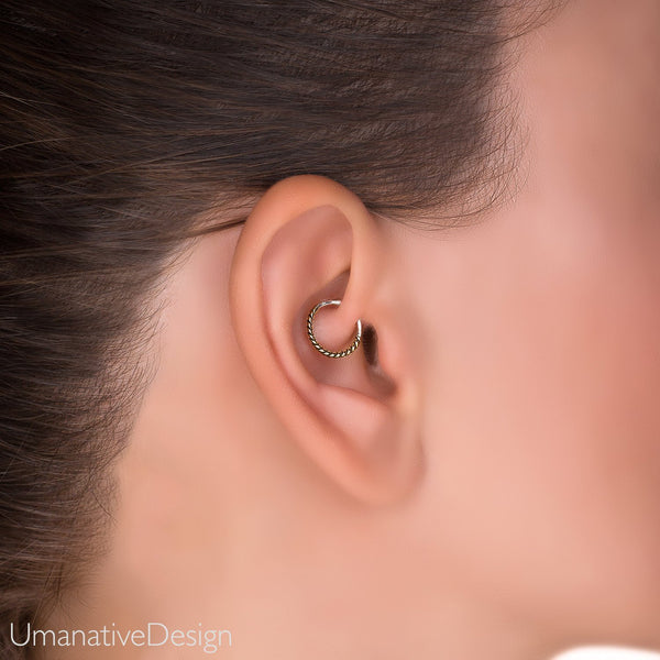 e55ffd50b3605 Daith Earring, Daith Piercing, Tragus Earring, Twisted Wire Hoop, Gold  Cartilage Earring, Silver Tragus Earring, Helix Hoop, Helix Earring