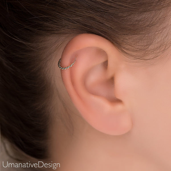 7a67d3985 ... Daith Earring, Daith Piercing, Tragus Earring, Twisted Wire Hoop, Gold  Cartilage Earring ...