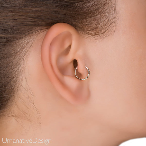 Daith Earring Daith Piercing Tragus Earring Twisted Wire Hoop