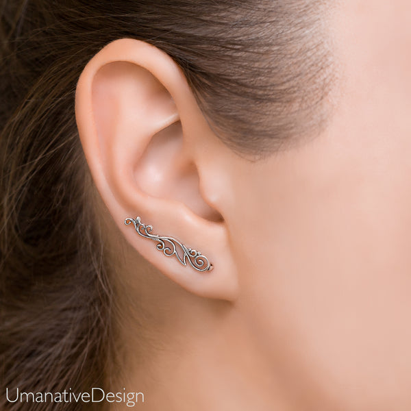 Sterling Silver Ear Climbers Earrings