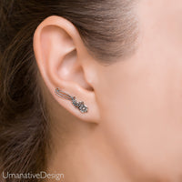 Ear Climber Earrings - Sterling Silver Ear Crawler