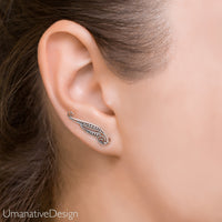 Tribal Ear Climber Earrings - Sterling Silver Ear Crawler
