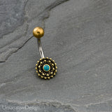 Flower Mandala Belly Button Ring With Turquoise