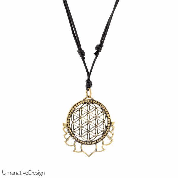 Flower Of Life Brass Necklace