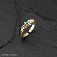 Minimalist Brass Toe Ring With Turquoise